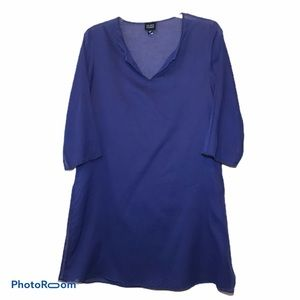 EILEEN FISHER Beaded Royal Blue Cotton Tunic XS